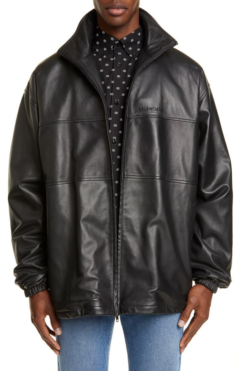 BALENCIAGA Oversize Lambskin Leather Track Jacket, Main, color, BLACK