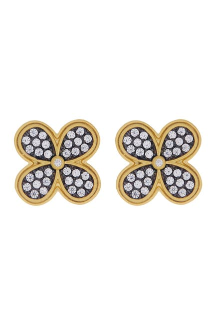 Image of Freida Rothman 14K Gold Plated Sterling Silver CZ Pave Clover Stud Earrings