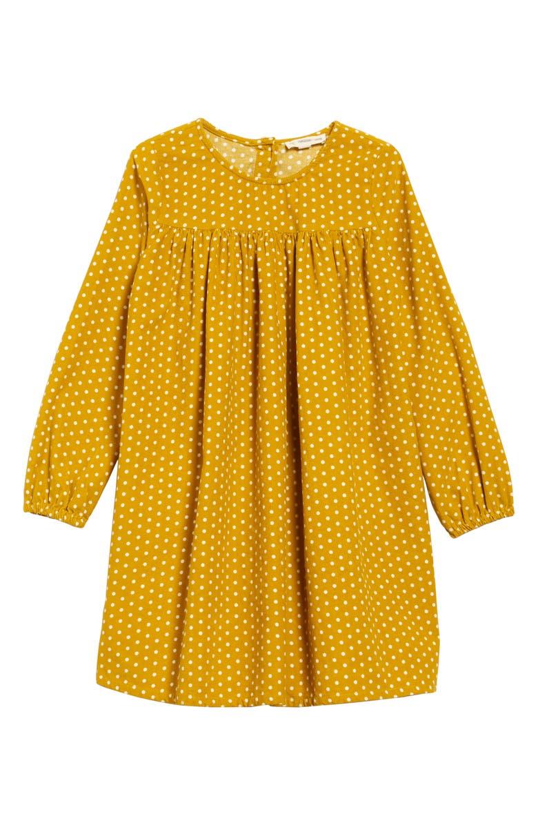 TUCKER + TATE Polka Dot Corduroy Dress, Main, color, YELLOW NUGGET TINY DOT