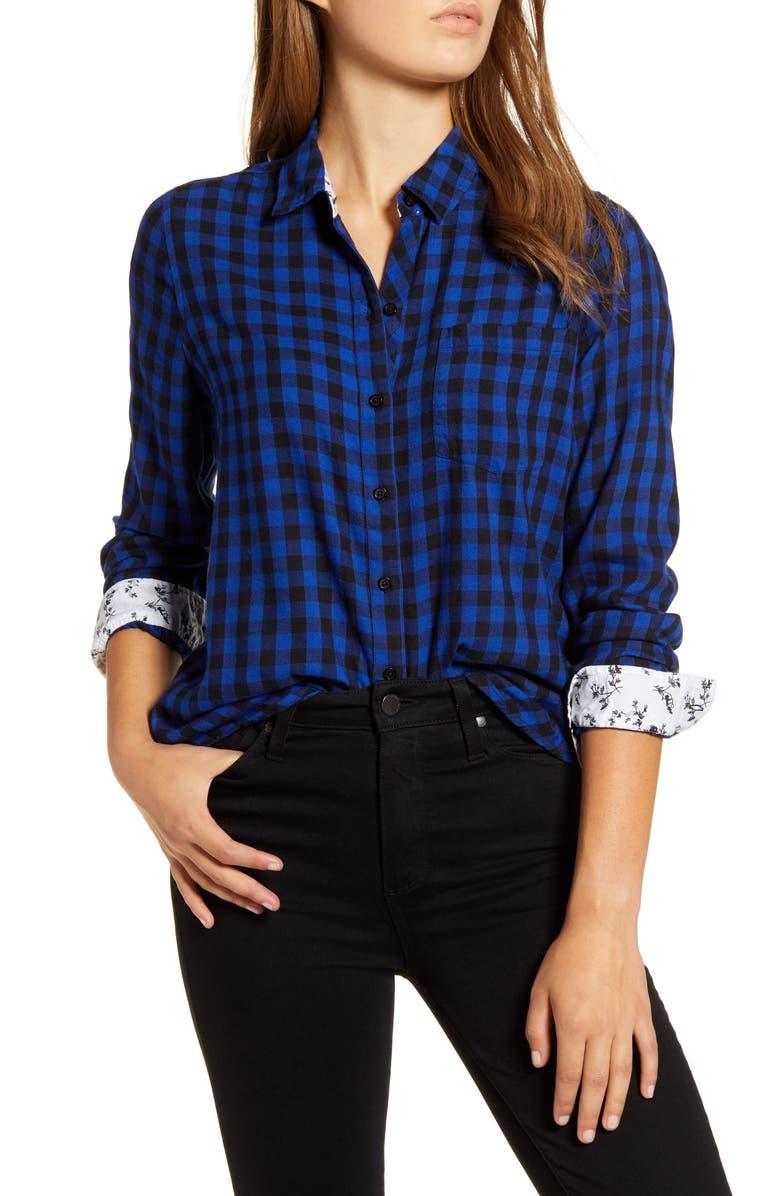 LUCKY BRAND Buffalo Check Contrast Button-Up Shirt, Main, color, 450