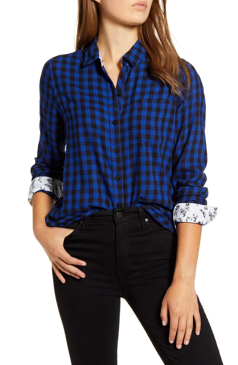 LUCKY BRAND Buffalo Check Contrast Button-Up Shirt, Main, color, COBALT MULTI