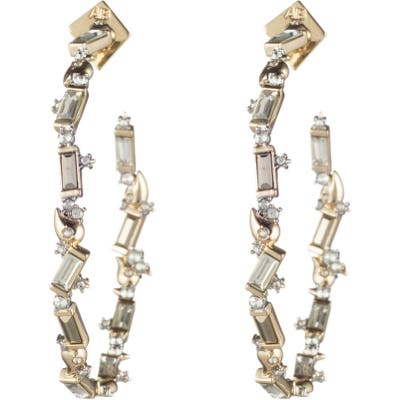 Alexis Bittar Retro Gold Collection Crystal Baguette Hoop Earrings