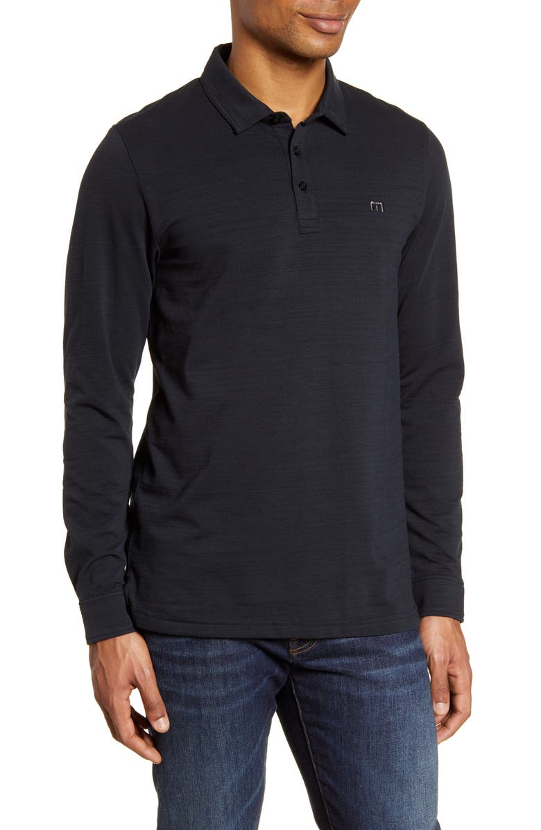 TRAVISMATHEW Kawloon Regular Fit Long Sleeve Polo Shirt, Main, color, BLACK