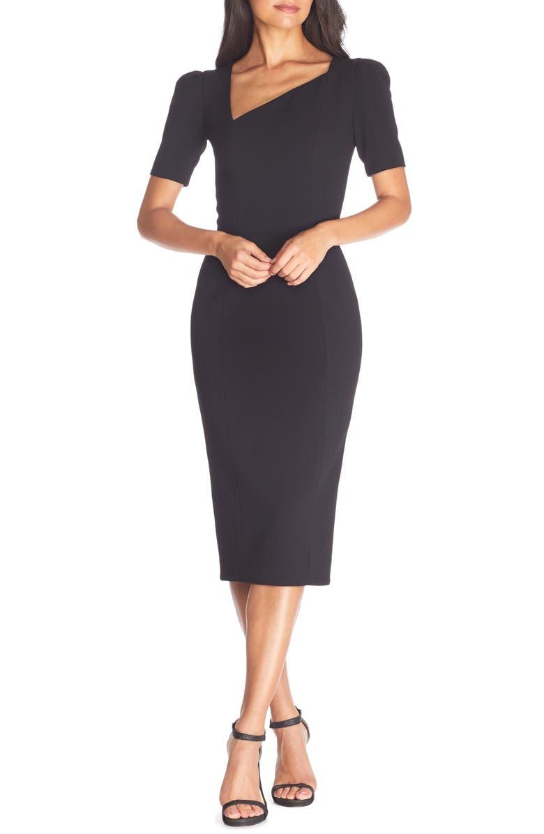 DRESS THE POPULATION Ruth Asymmetrical Neck Midi Dress, Main, color, BLACK