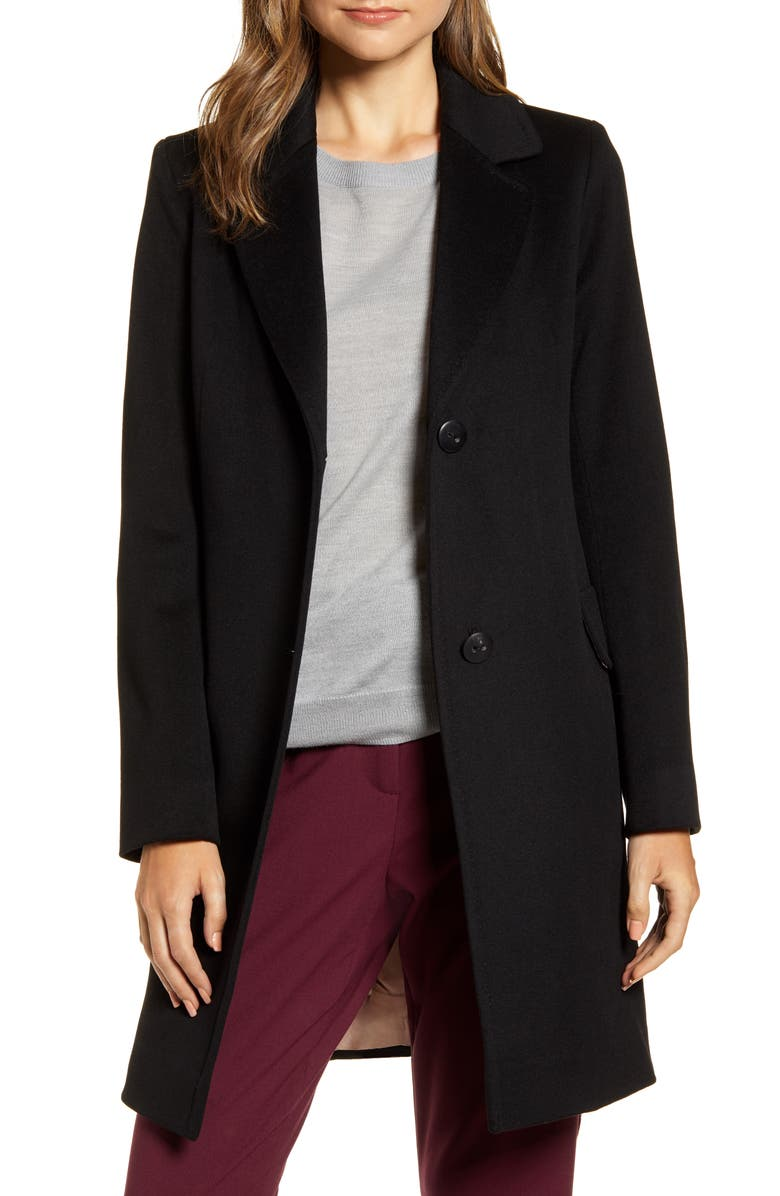 FLEURETTE Notched Collar Wool Walker Coat, Main, color, BLACK