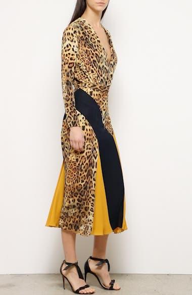 Leopard Colorblock Silk Midi Skirt, video thumbnail