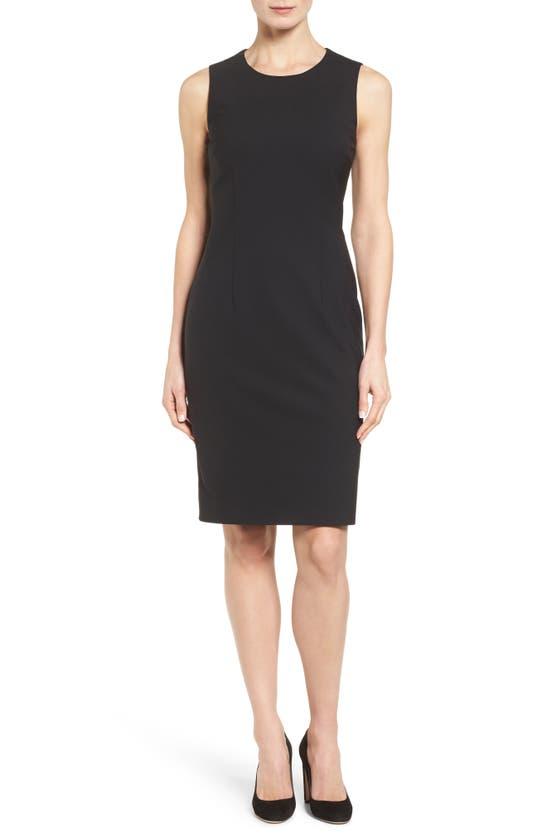 Hugo Boss Dristie Sleeveless Stretch Wool Sheath Dress In Black