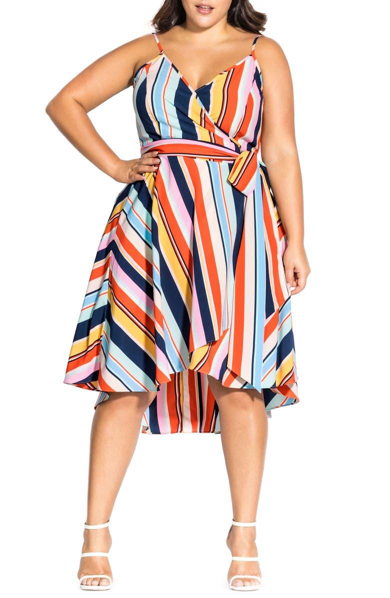 CITY CHIC Freedom Stripe Wrap Dress, Main, color, 960