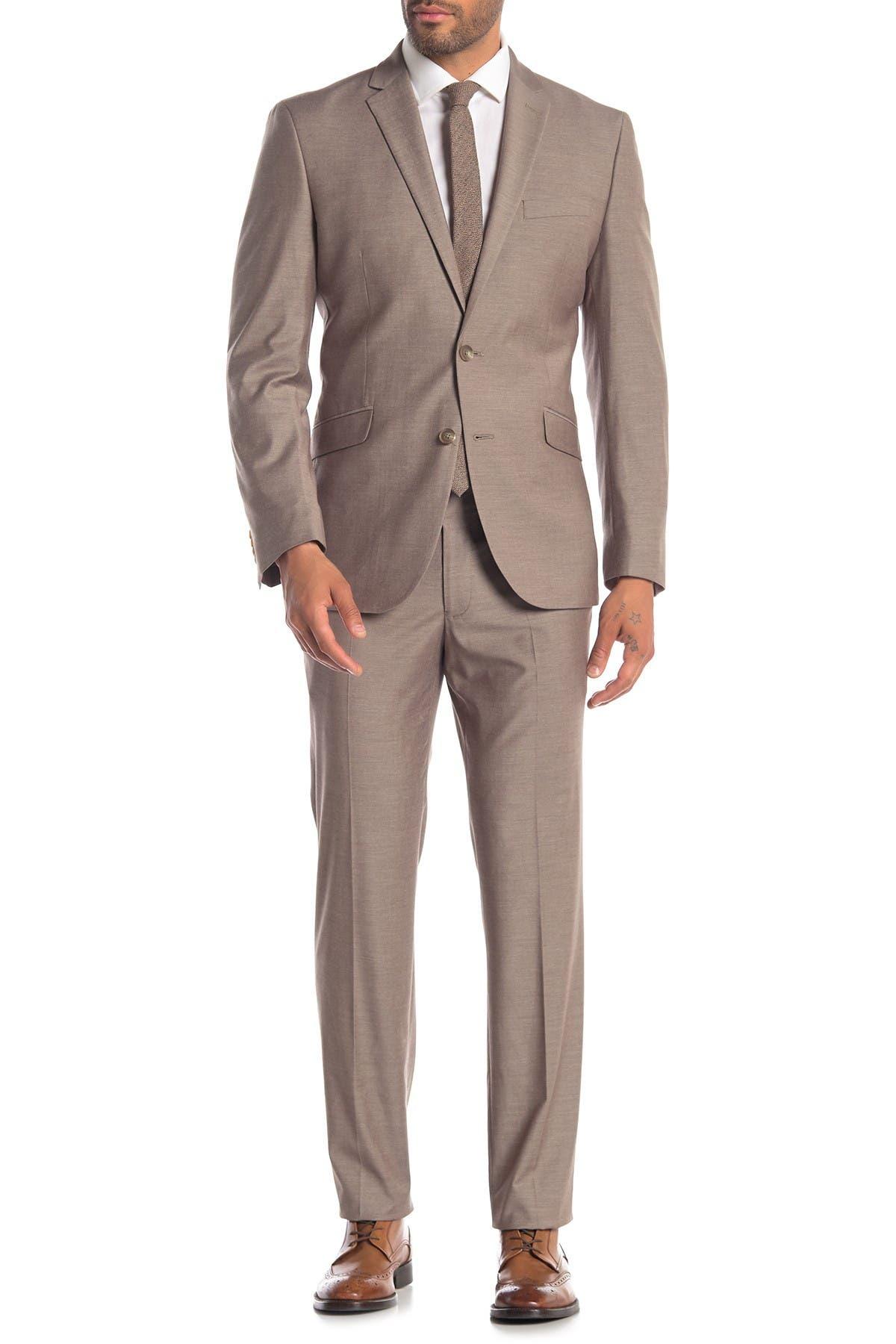 Image of Kenneth Cole Reaction Dark Tan Solid Two Button Notch Lapel Techni-Cole Slim Fit Suit