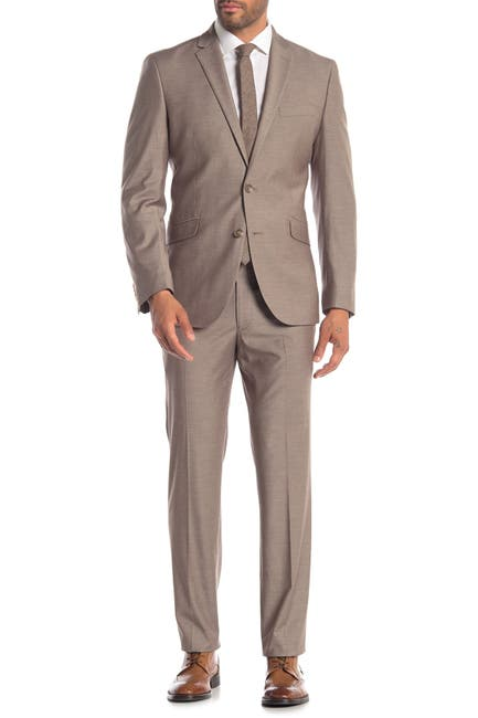 Kenneth Cole Reaction Men's Two Button Notch Lapel Techni-Cole Slim Fit Suit (Dark Tan Solid)