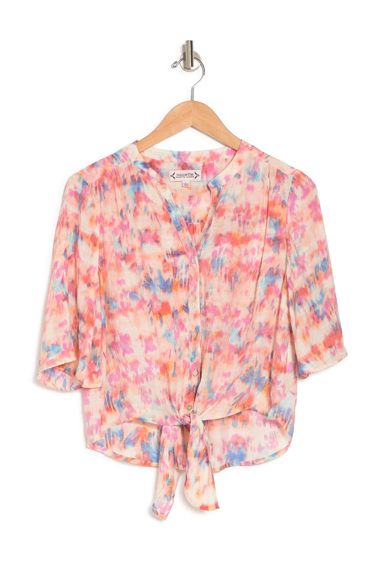 Image of NANETTE nanette lepore 3/4 Sleeve Tie Front Blouse
