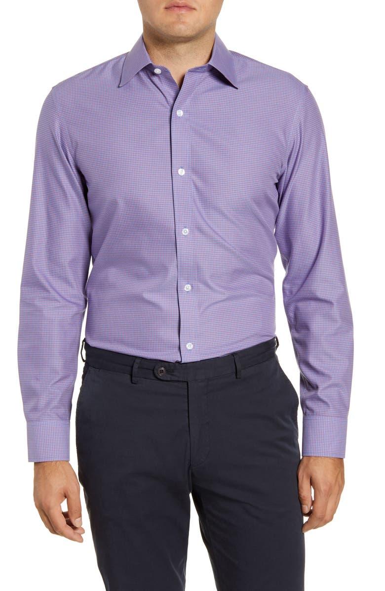 BONOBOS Trim Fit Check Dress Shirt, Main, color, ROLLING HILLS - CRANBERRY ICE