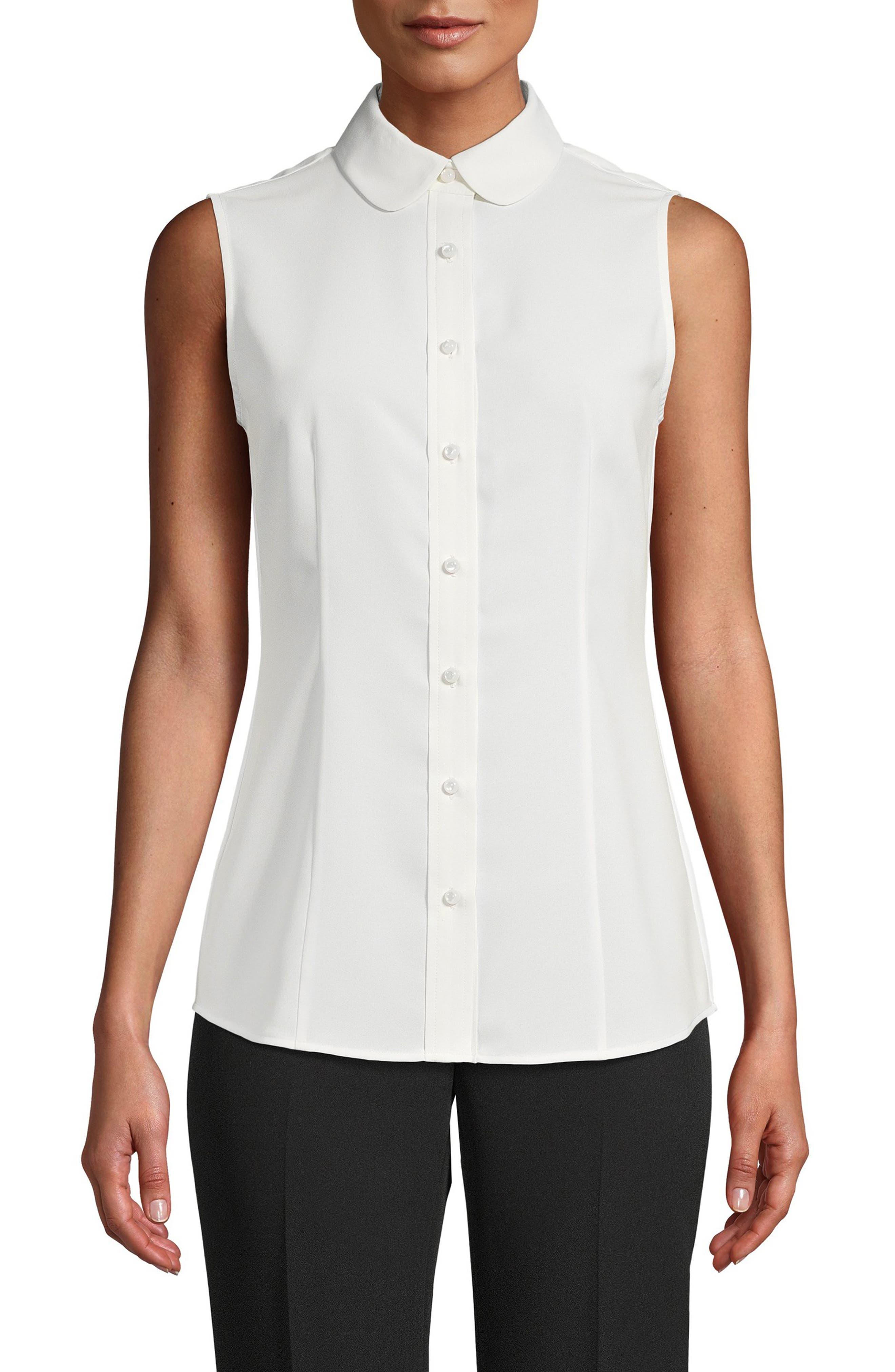 Sleeveless Button-Up Blouse