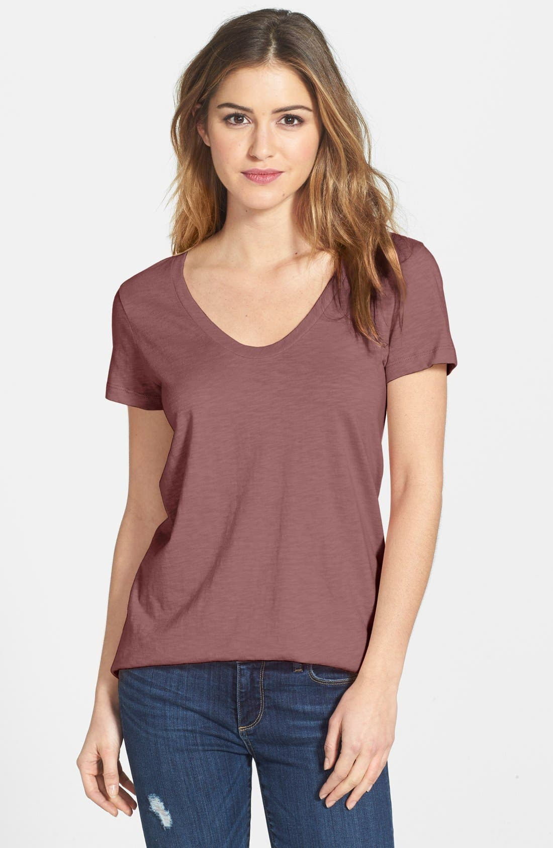 ,                             Relaxed Slub Knit U-Neck Tee,                             Main thumbnail 424, color,                             693