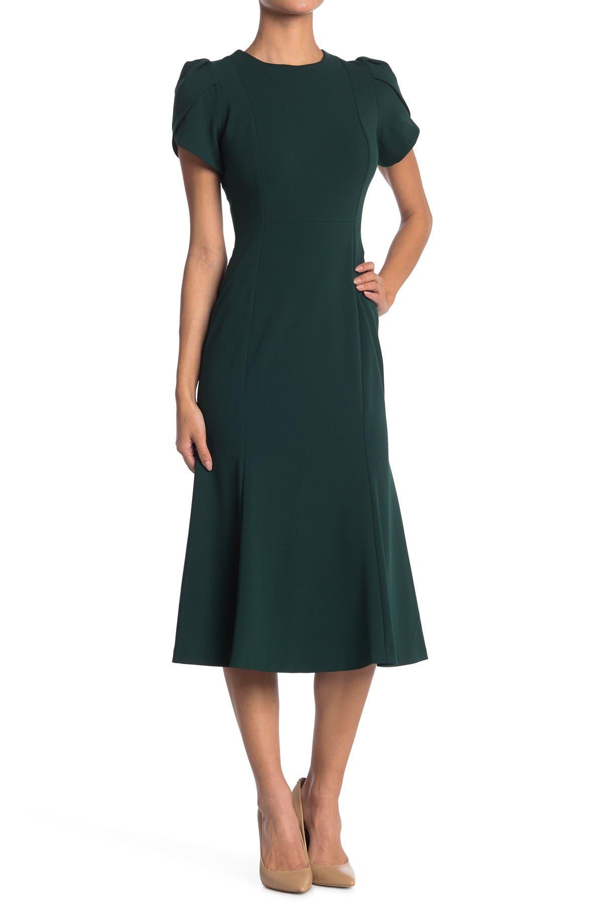 Image of Calvin Klein Tulip Sleeve Midi Dress