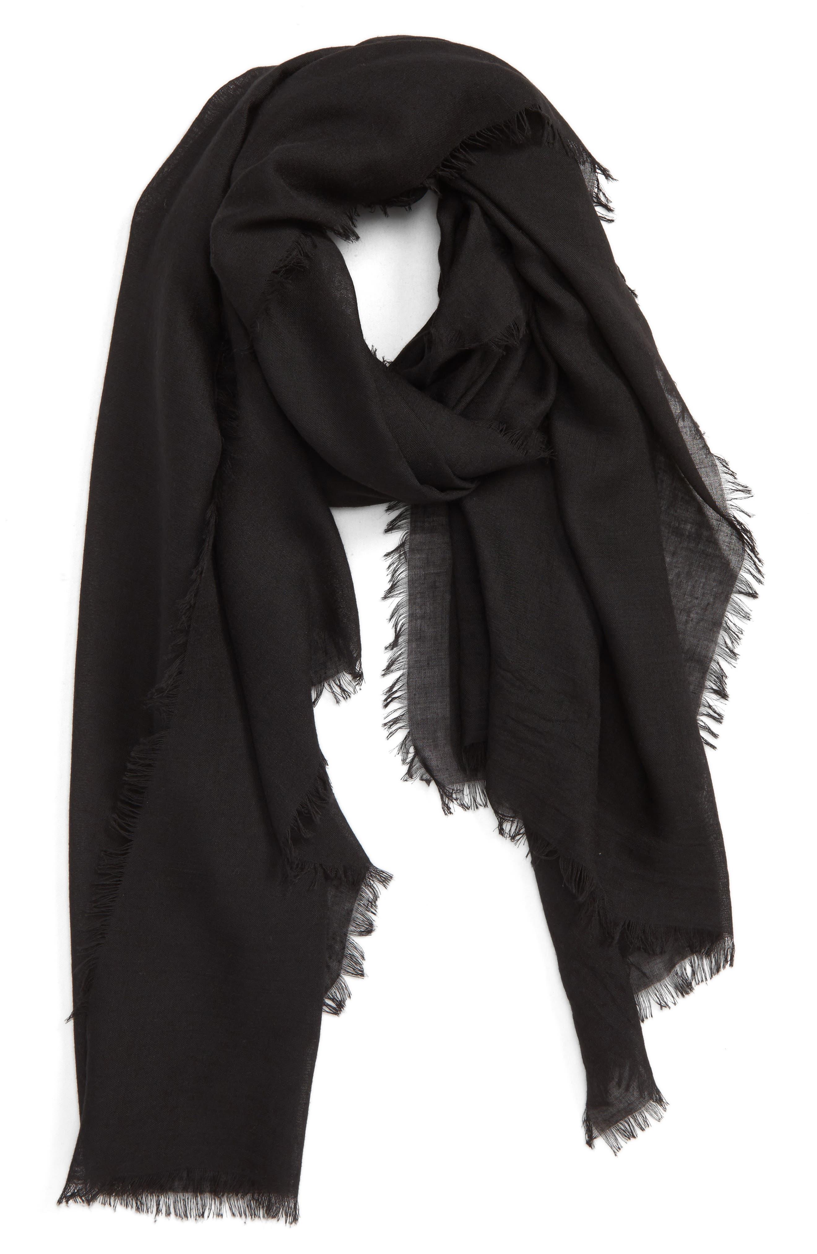 ,                             Lightweight Cotton Scarf,                             Main thumbnail 1, color,                             BLACK