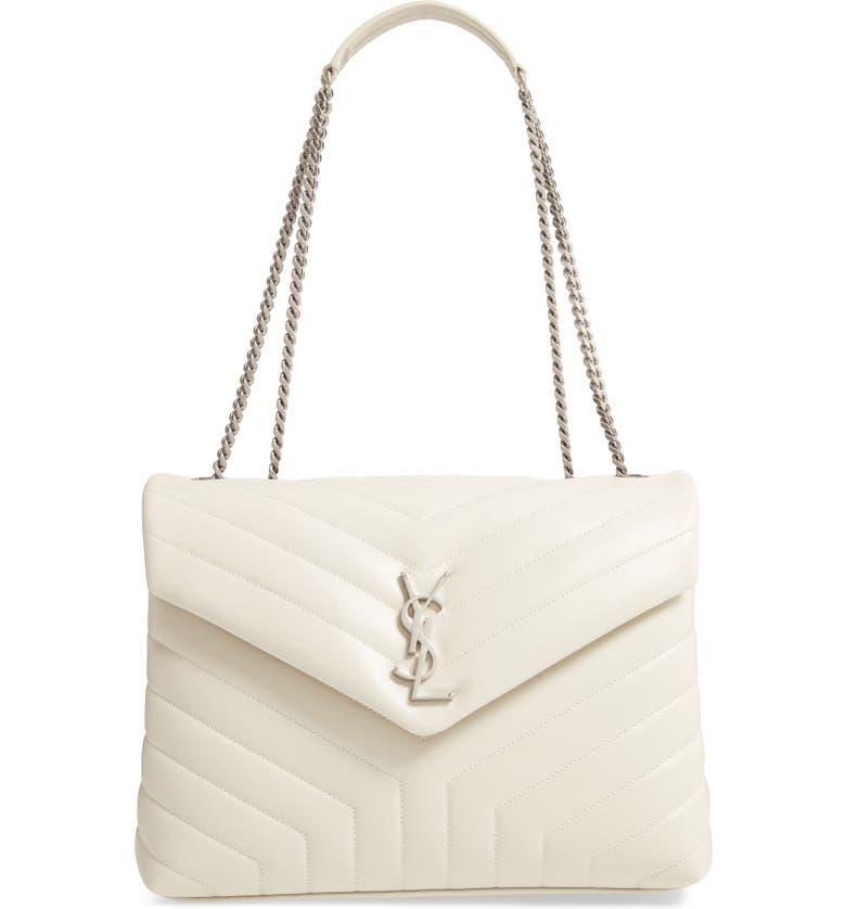 SAINT LAURENT Medium Loulou Matelassé Leather Shoulder Bag, Main, color, CREMA SOFT