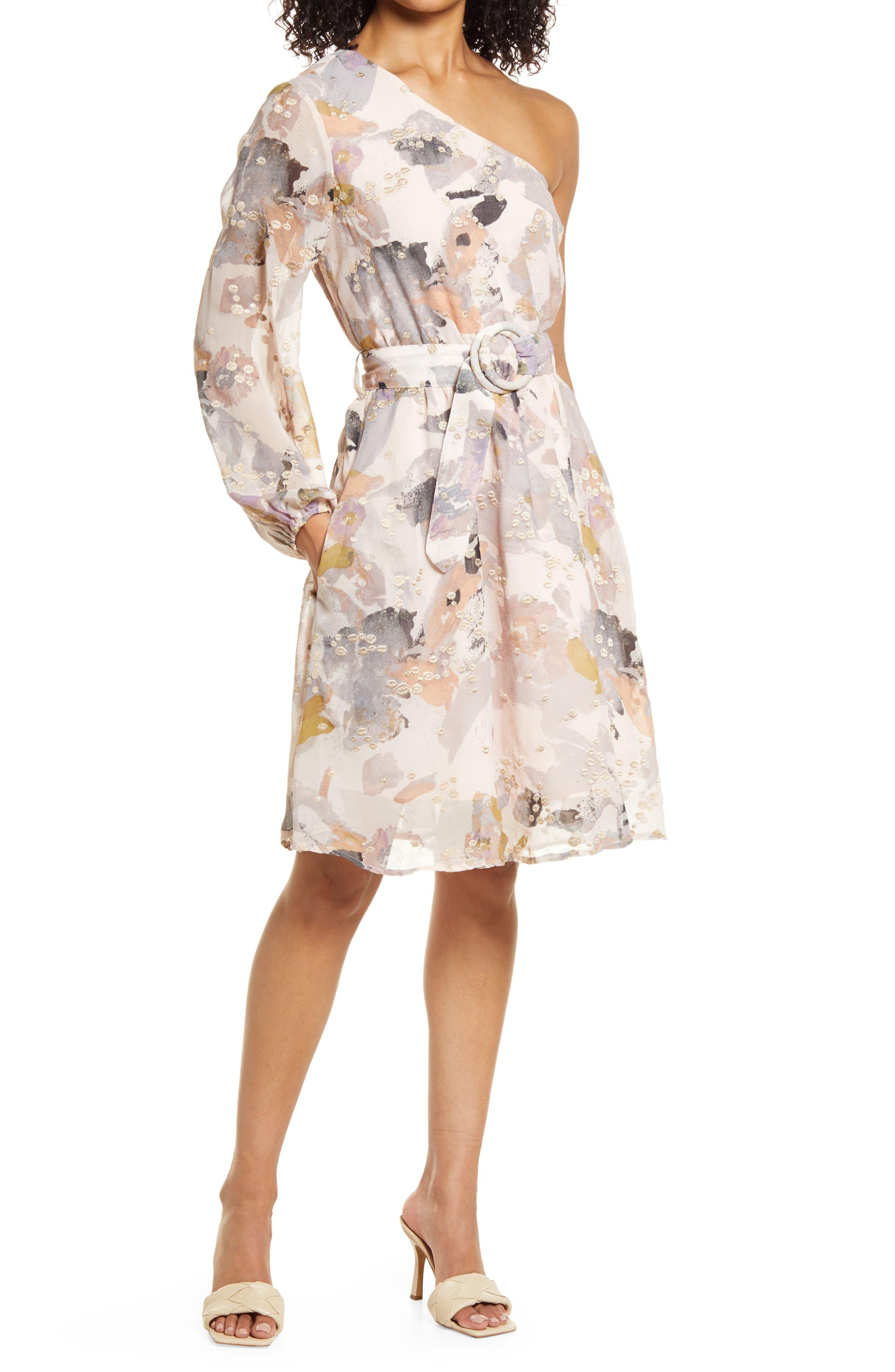 Embroidery Print One-Shoulder Chiffon Dress