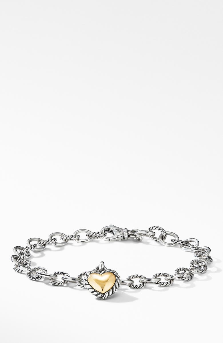 DAVID YURMAN Cable Cookie Classic Heart Charm Bracelet with 18K Yellow Gold, Main, color, TWO TONE