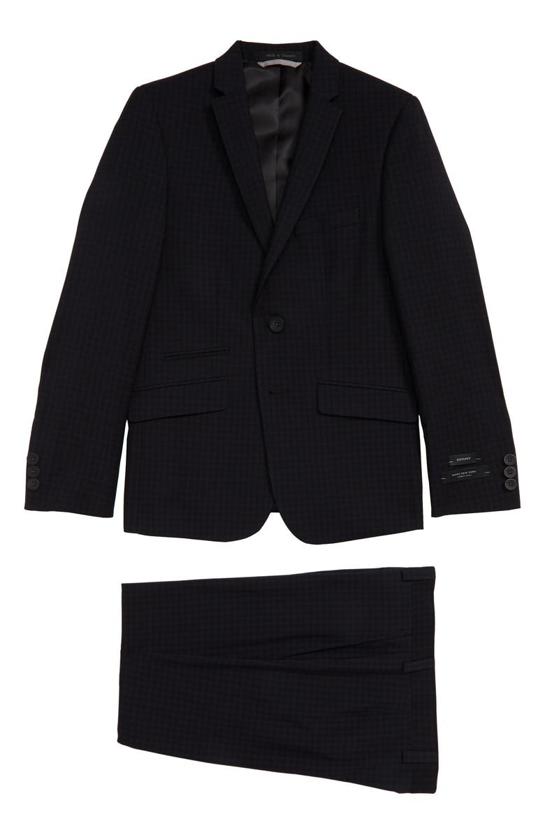 ANDREW MARC Check Skinny Fit Suit, Main, color, 001