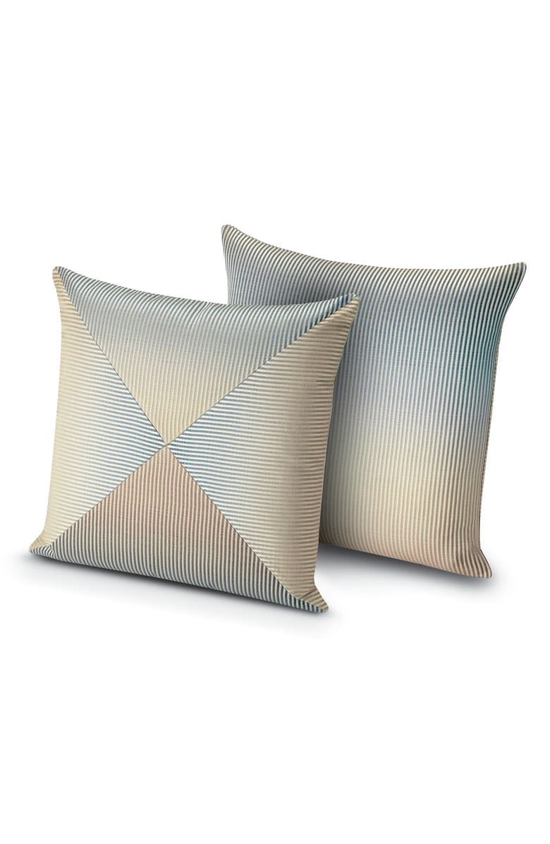 MISSONIHOME Oleg Ombré Stripe Pieced Pillow, Main, color, BLUE/ GREEN