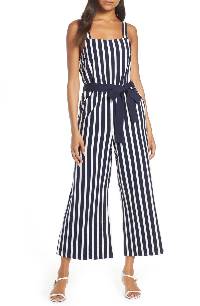 J.CREW Knit Tie Waist Stripe Jumpsuit, Main, color, HARBOR STRIPE NAVY