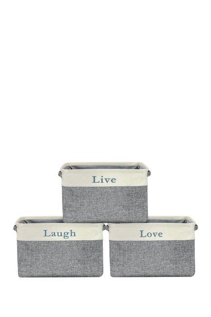 Image of Sorbus Cream Twill Storage Basket - Set of 3