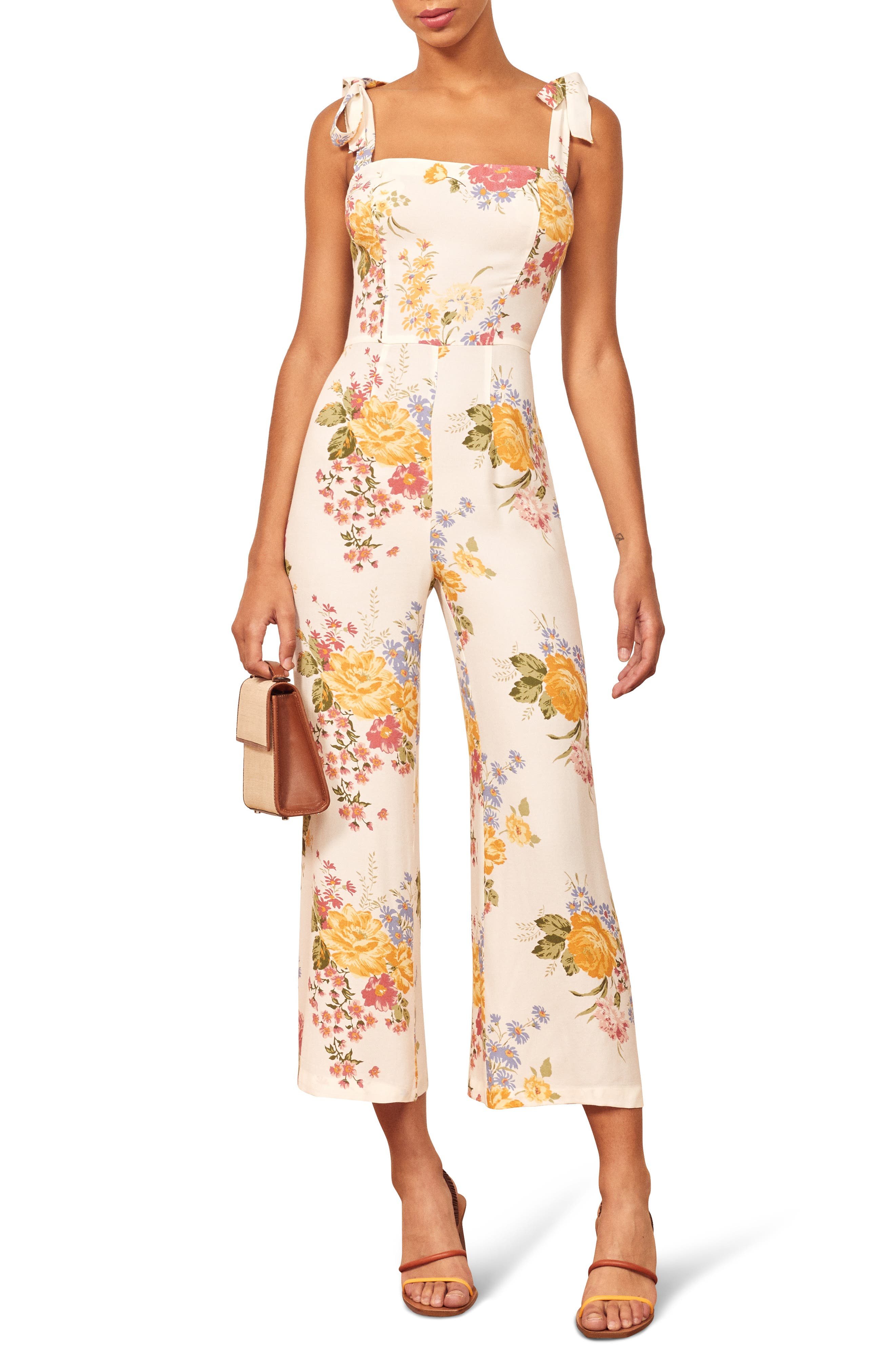 Reformation Fay Sleeveless Tie Shoulder Jumpsuit, White
