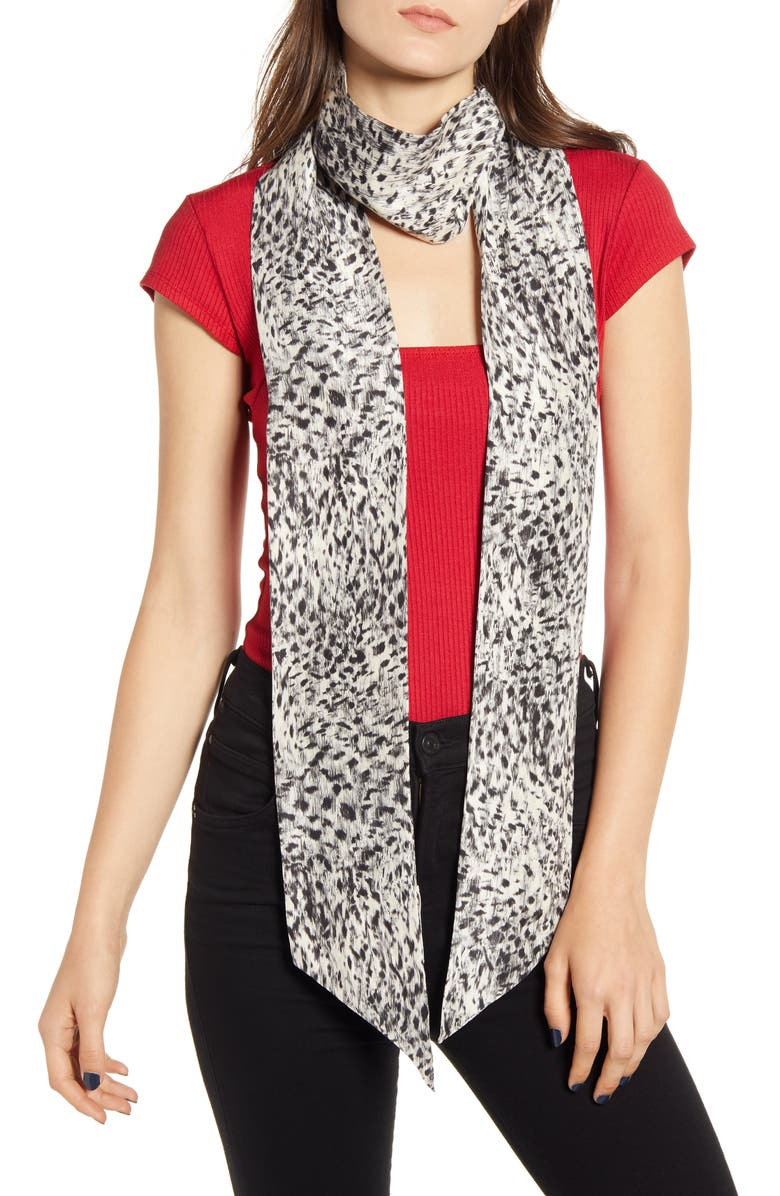 TREASURE & BOND Long Silk Skinny Scarf, Main, color, GREY ENCHANT ANIMAL PRINT