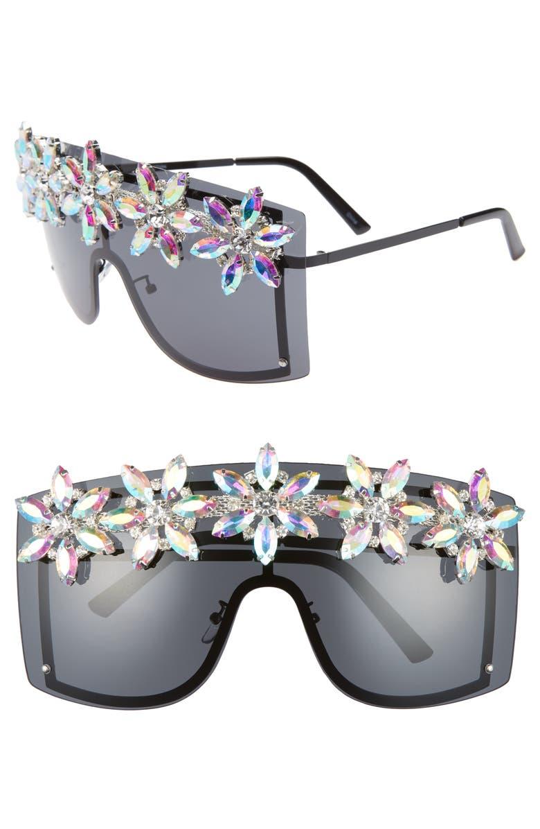RAD + REFINED Crystal Shield Sunglasses, Main, color, BLACK/ CRYSTAL