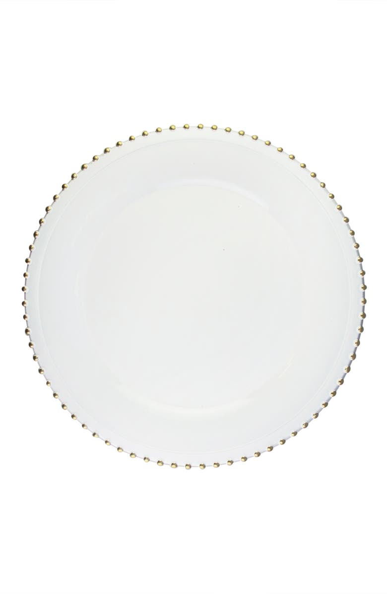 American Atelier Elle Beaded Set Of 4 Melamine Plates