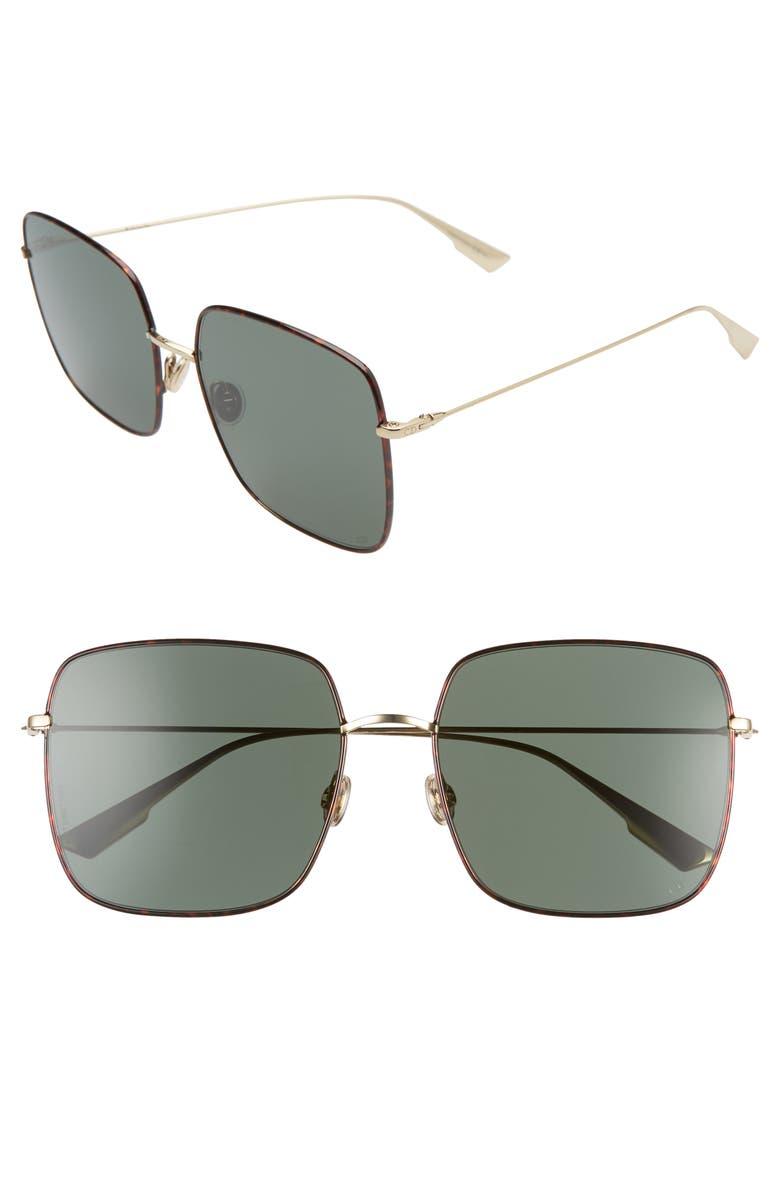 DIOR Stellaire 59mm Square Sunglasses, Main, color, HAVANA/ GREEN