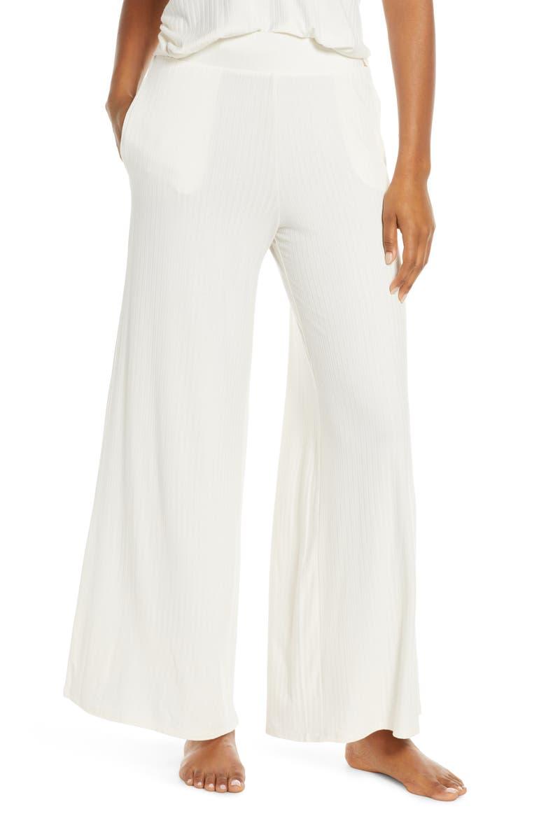 SOCIALITE Rib Wide Leg Lounge Pants, Main, color, WHITE GARDENIA