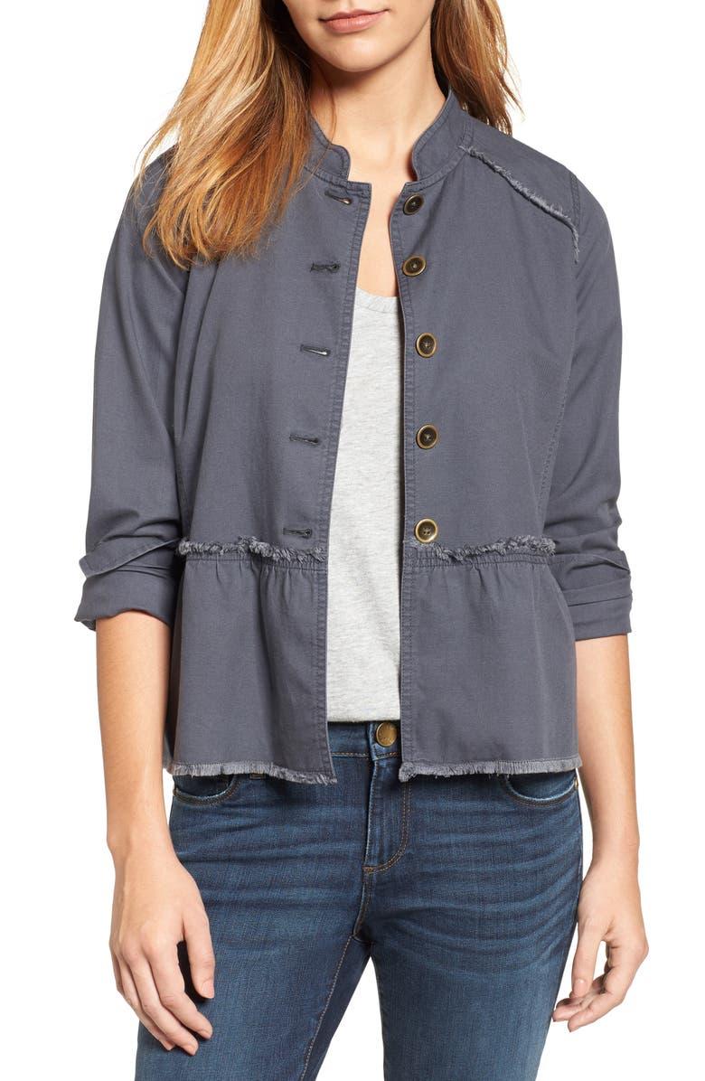 CASLON<SUP>®</SUP> Twill Peplum Jacket, Main, color, 030