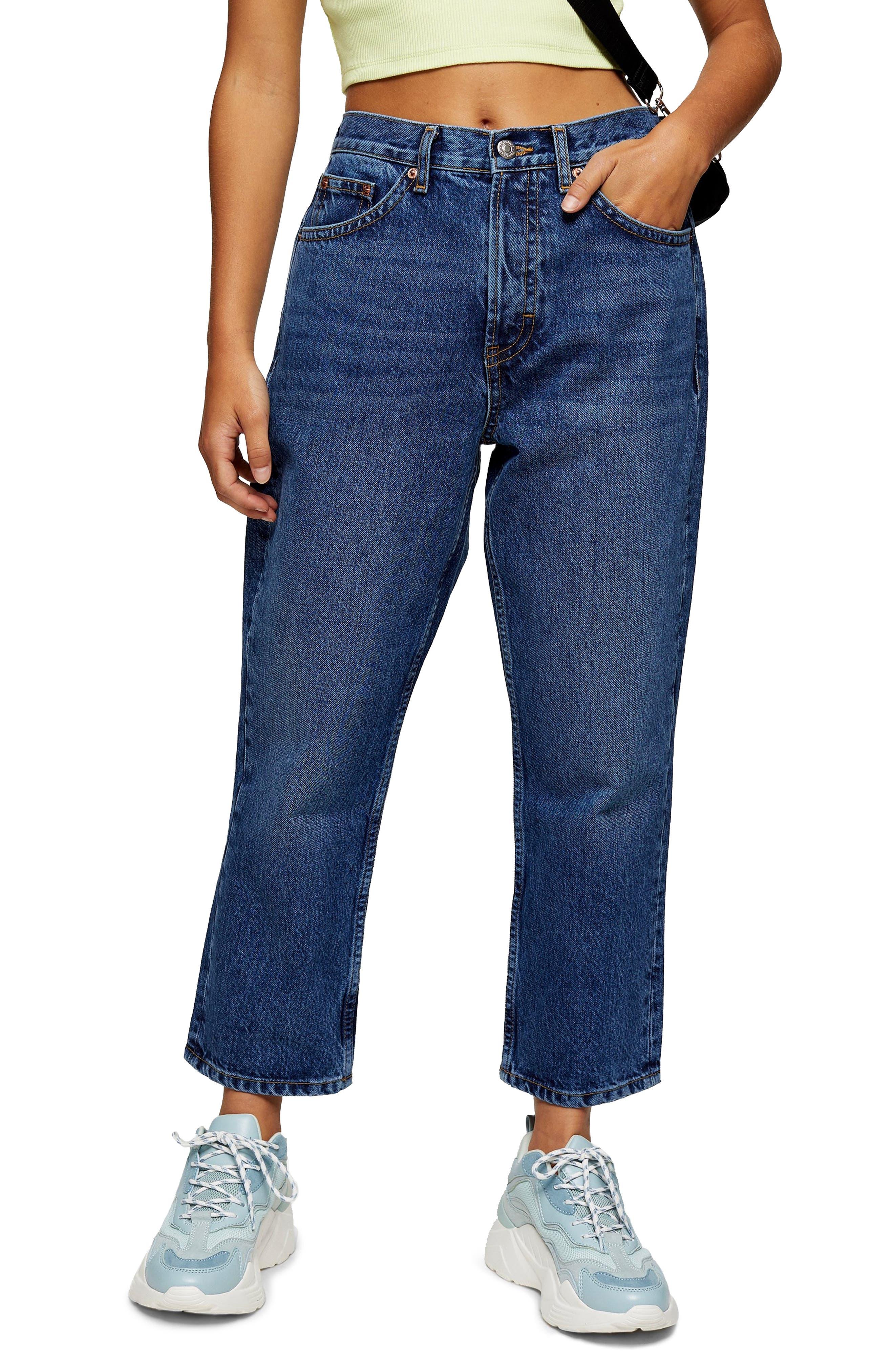 Image of TOPSHOP Editor High Waist Crop Straight Leg Jeans