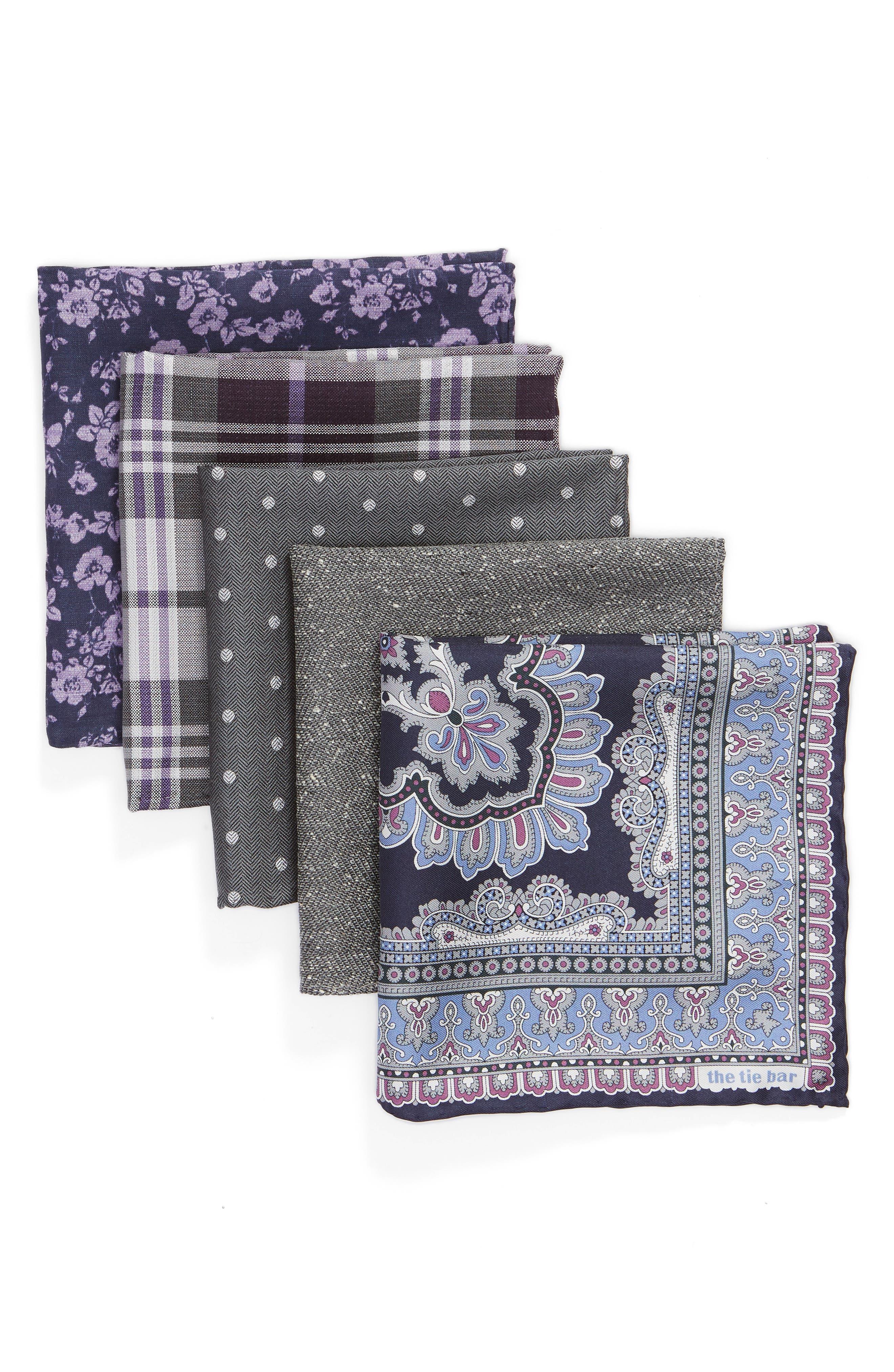 Set of 5 Pocket Squares, Main, color, EGGPLANT