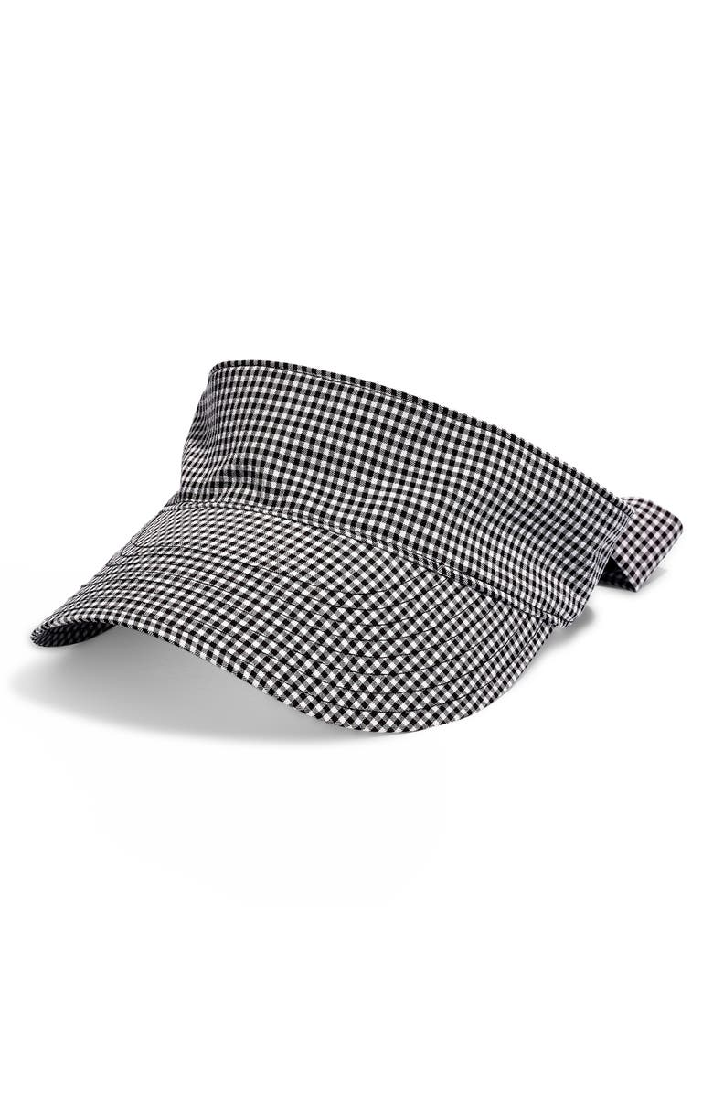 MADEWELL Gingham Tie Back Visor, Main, color, TRUE BLACK