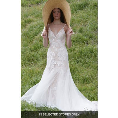 Willowby Holden Lace & Tulle A-Line Wedding Dress, Size - Ivory