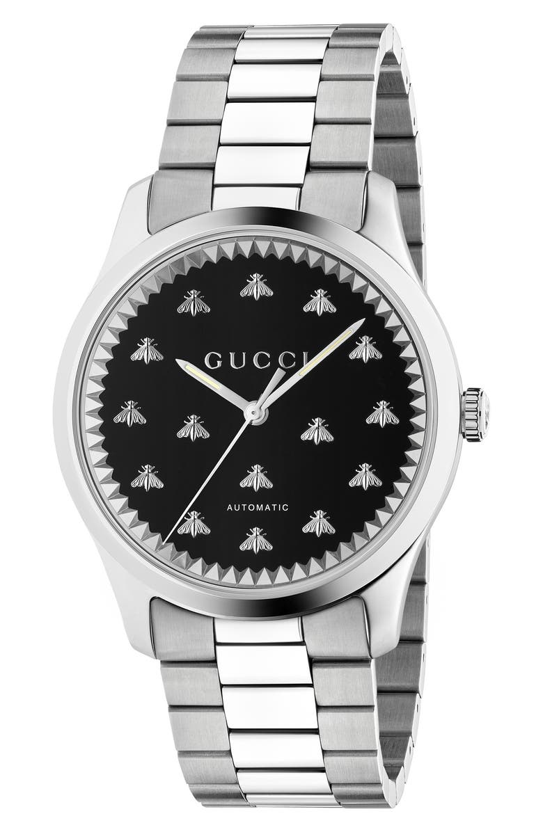 GUCCI Bee Automatic Bracelet Watch, 42mm, Main, color, SILVER/ BLACK ONYX/ SILVER