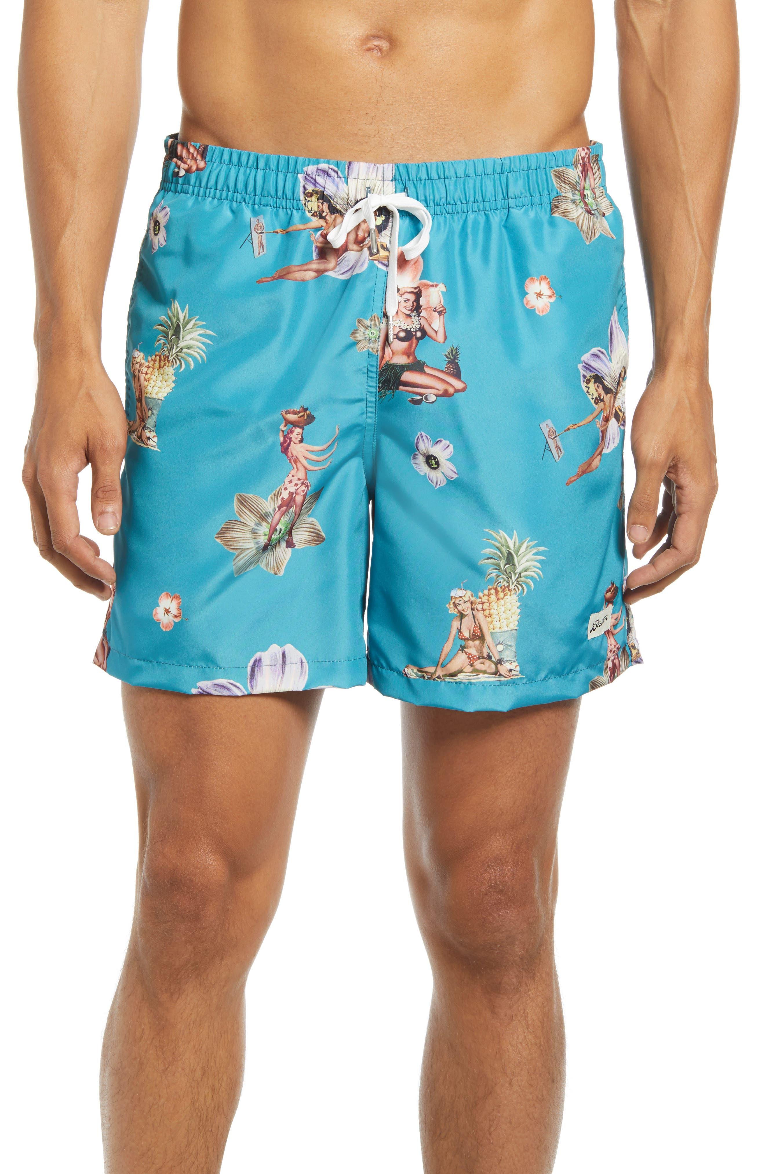 Hula Print Swim Trunks