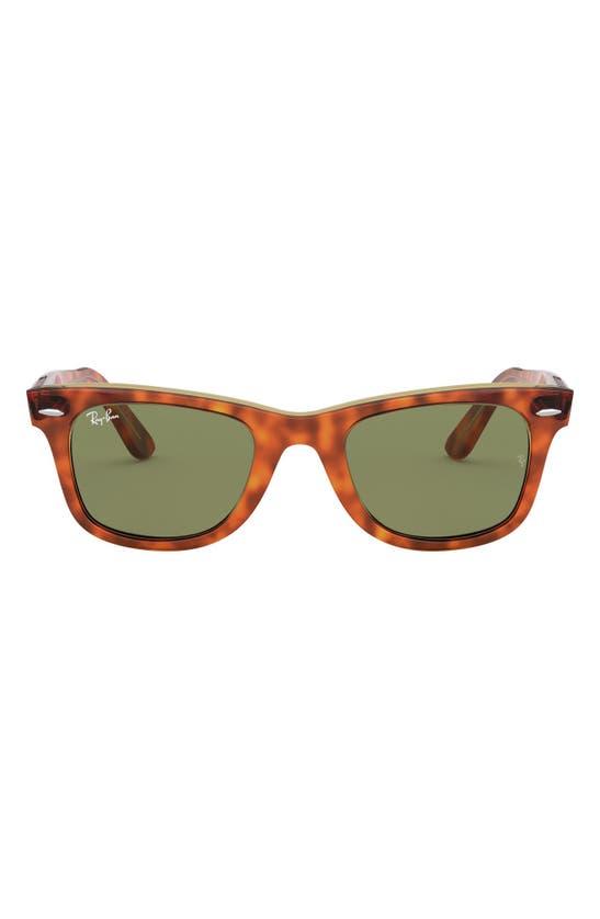 Ray Ban 'classic Wayfarer' 50mm Sunglasses In Havana Gold/ Green Solid