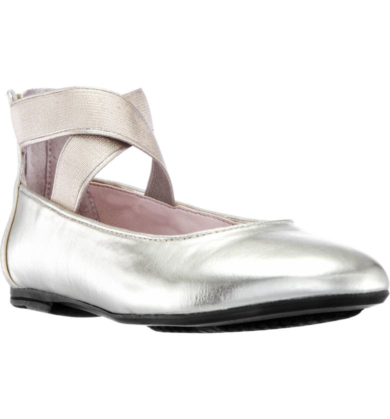 NINA Marissa Cross Strap Flat, Main, color, PLATINO METALLIC