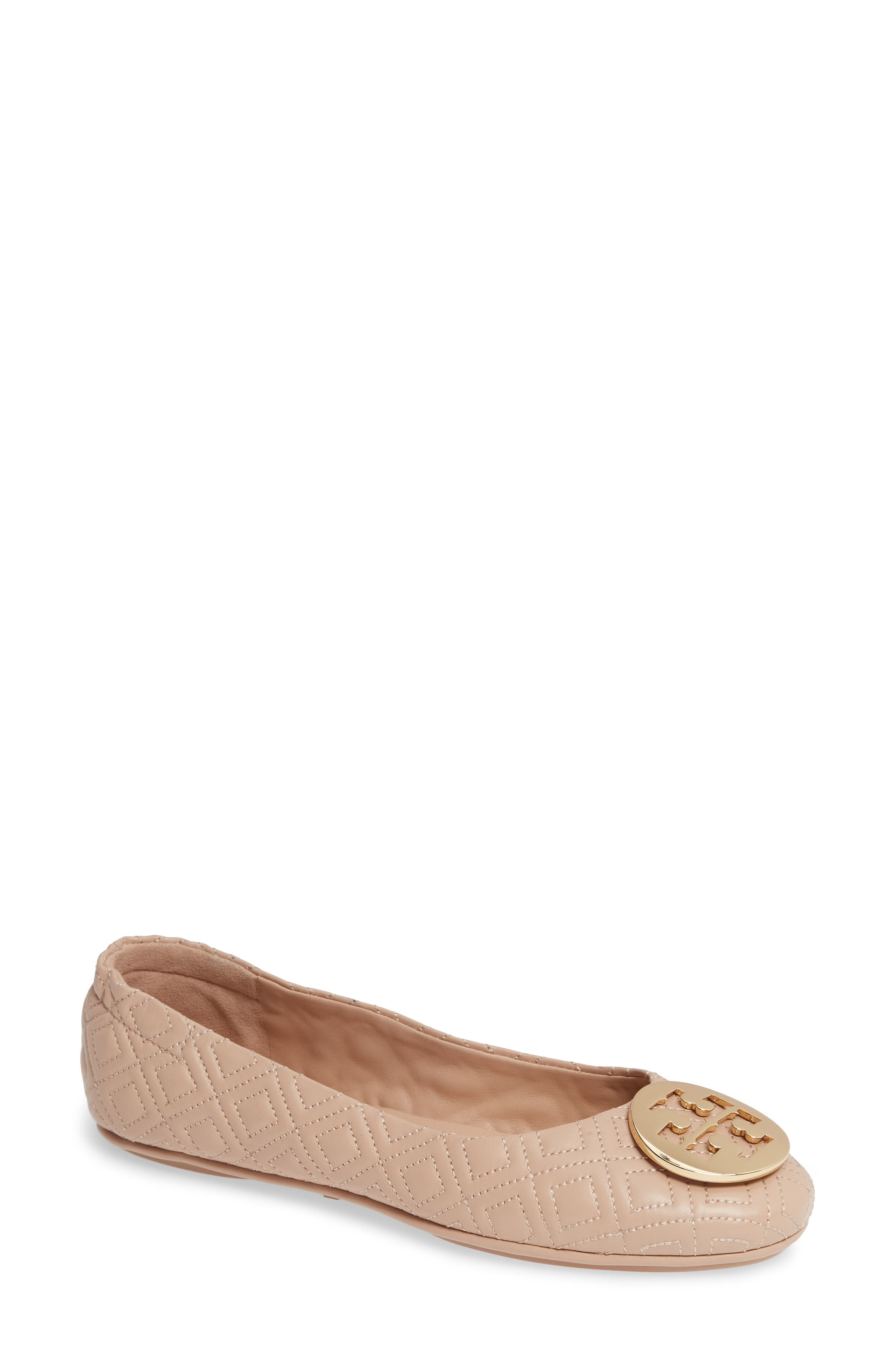 Tory Burch Quilted Minnie Flat, Beige