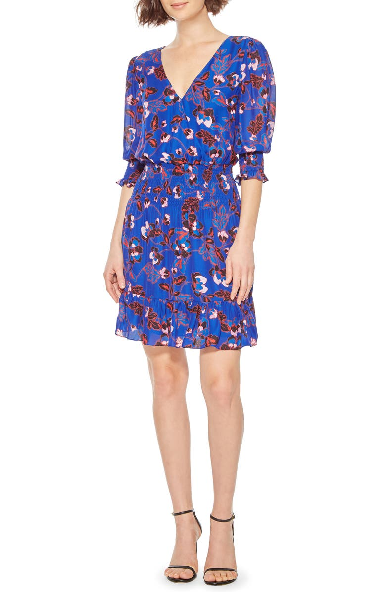 PARKER Olympia Elbow Sleeve Minidress, Main, color, GARDEN ODYSSEY
