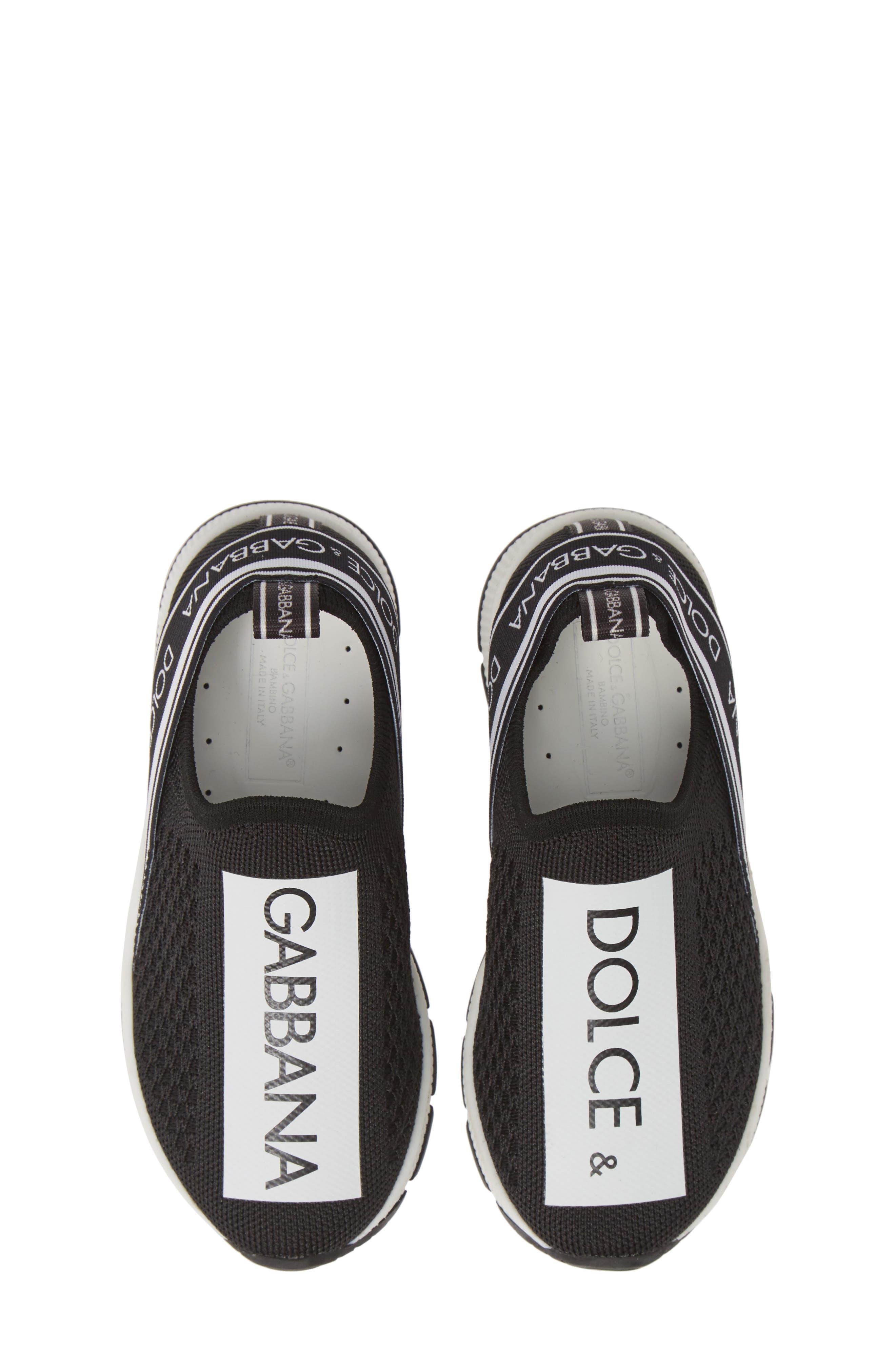 Girls Dolce  gabbana Logo Knit SlipOn Sneaker Size 135US  31EU  Black