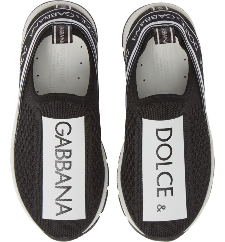 DOLCE&GABBANA Logo Knit Slip-On Sneaker, Main, color, 002
