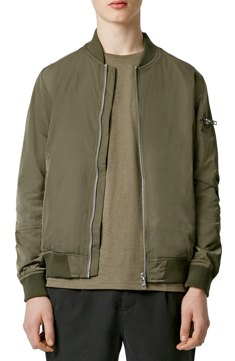 TOPMAN Bomber Jacket, Main, color, 310