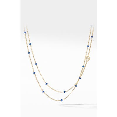 David Yurman Cable Collectibles Bead And Chain Necklace In 18K Yellow Gold With Blue Sapphires