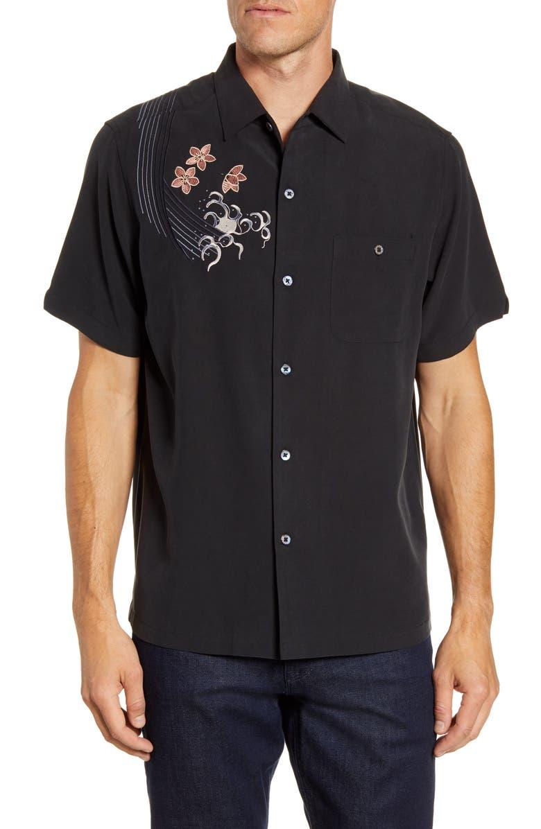TORI RICHARD Koi Regular Fit Embroidered Short Sleeve Silk Blend Button-Up Shirt, Main, color, BLACK