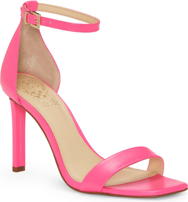 VINCE CAMUTO Lauralie Ankle Strap Sandal, Main, color, NEON FUCHSIA LEATHER